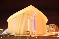 Luxembourg Philharmonic by night. Modern building the philharmonic of Luxembourg Stock Photography