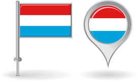 Luxembourg pin icon and map pointer flag. Vector Royalty Free Stock Image
