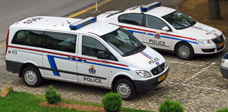 Luxembourg police vehicles. Vehicles of the Grand Ducal Police, the primary law enforcement agency in the Grand Duchy of Luxembourg stock photography