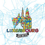 Luxembourg reser hemligheter Art Map vektor illustrationer