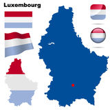 Luxembourg  set. Detailed country shape with region borders, flags and icons isolated on white background Stock Photography