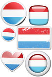 Luxembourg - Set of stickers and buttons. Glossy and colorful stickers with reflection set Stock Images
