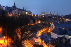 Luxembourg skyline at night stock photos