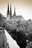Luxembourg skyline in sepia. The skyline of Luxembourg with prominent Notre-Dame cathedral in Sepia stock photography
