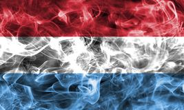 Luxembourg smoke flag. Isolated on a black background Stock Photos