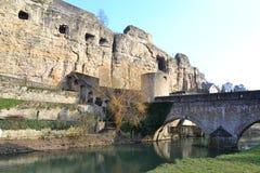 Luxembourg stad, bockölCasemates Arkivbild