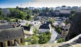 Luxembourg stad, sikt från Ville Haute, hög stad Royaltyfri Fotografi