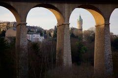 Luxembourg-stad sparbankpanorama Arkivbild
