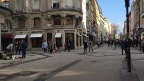 Luxembourg stad, storslagen rue för huvudsaklig fot- gata arkivfilmer