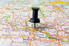 Luxembourg. Straight Pin in a Map Stock Photos
