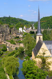 Luxembourg in summer. View of river and bridge in center of Luxembourg in summer Stock Photography