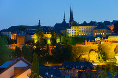 Luxembourg in a summer night Stock Photos