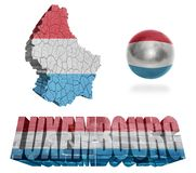 Luxembourg Symbols. Luxembourg flag and map in different styles in different textures Royalty Free Stock Images