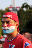 Luxembourg tennis fan during  US Open 2015 at Billie Jean King National Tennis Center Stock Photography