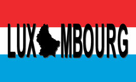 Luxembourg text with map Royalty Free Stock Image