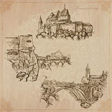 Luxembourg Travel - Hand drawn vector pack. Travel: LUXEMBOURG (set no.1) - Collection of an hand drawn vector illustrations. Each drawing comprise three layers Royalty Free Stock Photo