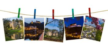Luxembourg travel images my photos on clothespins. Isolated on white background Stock Photos