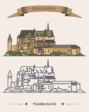 Luxembourg Vianden old castle on mountain with ribbon on top. Romanesque and renaissance architecture of castle or. Palace. Exterior or outdoor view on building Royalty Free Stock Images