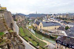 Luxembourg - view of the abbey. Picture taken on a cloudy day showing the abbey from Grund in Luxembourg Stock Image