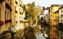 Luxembourg view from Grund: river with old buildings Stock Image