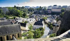 Luxembourg city, view from the Ville Haute, High City Royalty Free Stock Photography
