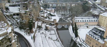 Luxembourg in winter. Panoramic aerial view of Luxembourg in winter Stock Images
