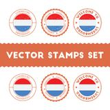 Luxembourger flag rubber stamps set. Stock Images
