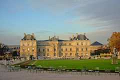 Luxembourg palace and garden, Paris. Luxembourg palace and garden on a sunny winter evening, Paris royalty free stock image