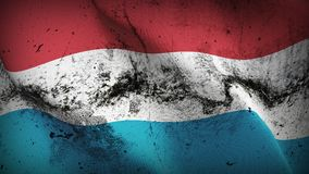 Luxembourg grunge dirty flag waving on wind. Luxembourgish background fullscreen grease flag blowing on wind. Realistic filth fabric texture on windy day Royalty Free Stock Photo