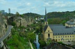 Luxemburg. Beautifull city landscpe of Luxemburg on the background of blue sky Royalty Free Stock Photography