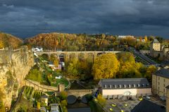 Luxemburg City outside the wall stock images