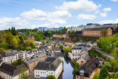 Luxemburg city view with houses on Alzette rive Royalty Free Stock Image
