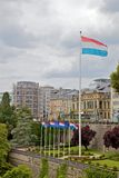 Luxemburg flag. In center of city of Luxembourg Stock Image
