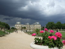 Luxemburg Gardens Paris France. Luxemburg Gardens in Paris France on a cloudy day with flower pot Stock Photo