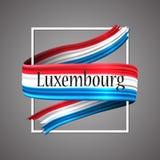 Luxemburg kennzeichnen w/clip Pfad Offizielle nationale Farben Realistisches Streifenband Luxemburgs 3d Vektorikonen-Zeichenhinte Stockfotos