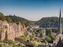 Luxemburg medieval city with surrounding walls. Luxemburg old medieval city with surrounding walls Stock Images