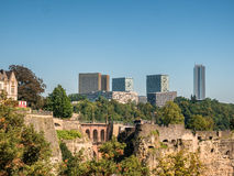 Luxemburg medieval city with surrounding walls Stock Images