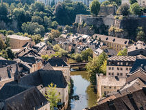 Luxemburg medieval city with surrounding walls Stock Photos