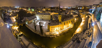 Luxemburg by night. Night panorama of Luxemburg old town Royalty Free Stock Photo