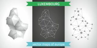 Luxemburg-Sammlung der modernen Karten-, Grauer und Schwarzer und silbernerdes punktkonturn-Mosaiks 3d Karte des Vektordesigns Stockfotos