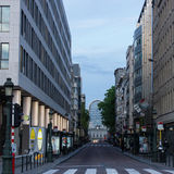 Luxemburg Street, Brussels, Belgium. View of Luxemburg Street at the end of a May day in Brussels, Belgium. In the background can be seen the building of the Royalty Free Stock Photo