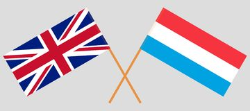 Luxemburg und Großbritannien Die Luxemburger und britischen Flaggen Offizieller Anteil Korrekte Farben Vektor vektor abbildung