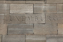 Luxemburg. Word carved into stone blocks. Luxemburg. Word carved into the stone blocks Royalty Free Stock Image