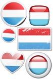 Luxemburgo - conjunto de etiquetas engomadas y de botones Imagenes de archivo