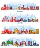 Luxemburgo, Helsínquia, Mônaco e Wellington ilustração stock