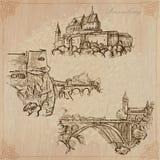 Luxemburgo viaja - paquete dibujado mano del vector Foto de archivo libre de regalías
