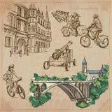 Luxemburgo viaja - paquete dibujado mano del vector Fotos de archivo