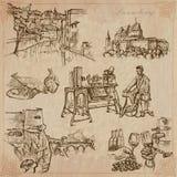 Luxemburgo viaja - paquete dibujado mano del vector Foto de archivo
