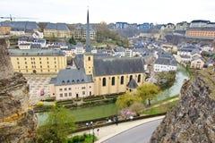 Luxemburgo - vista aérea de la abadía entre 2 rocas Foto de archivo