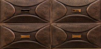 luxemening van decoratieve de tegelsachtergrond van de leer donkere bruine binnenlandse muur Royalty-vrije Stock Afbeeldingen
